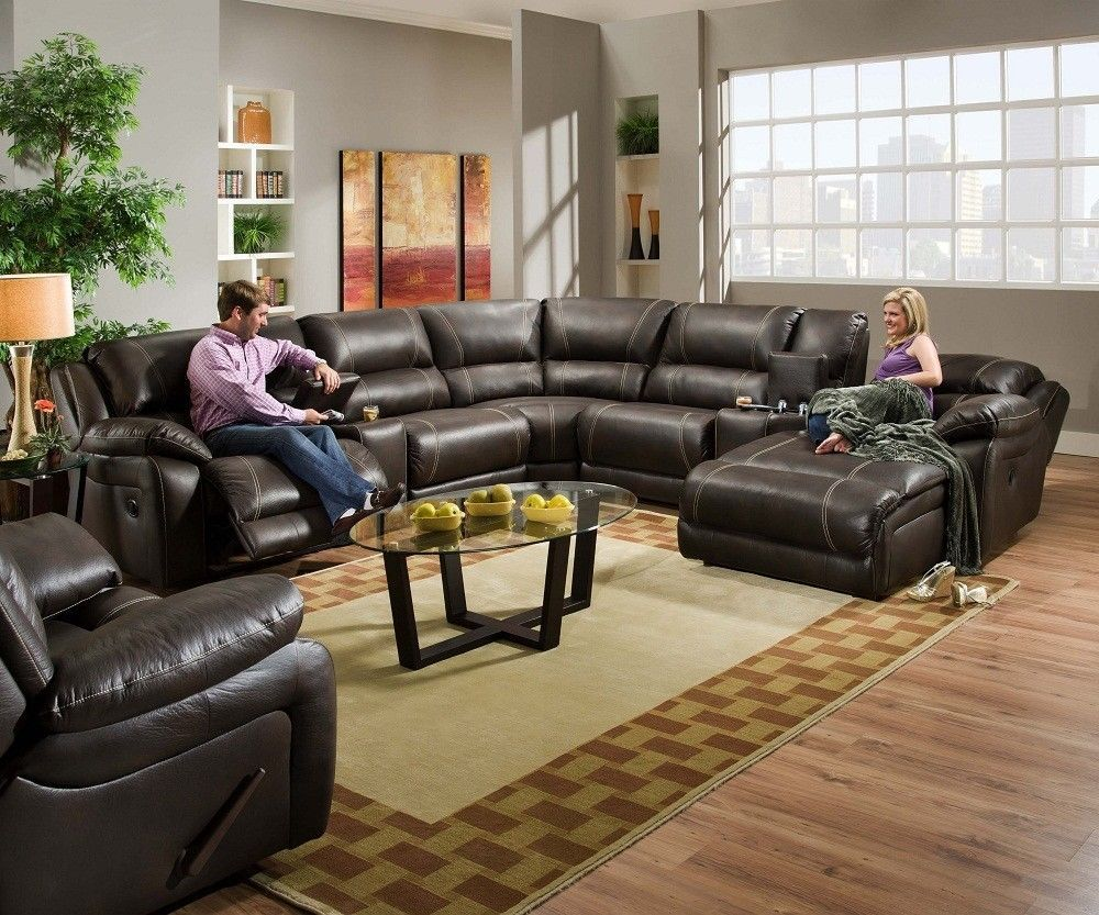 Blackjack Simmons Brown Leather Sectional Sofa Chaise Lounge Theater Reclining Traditional