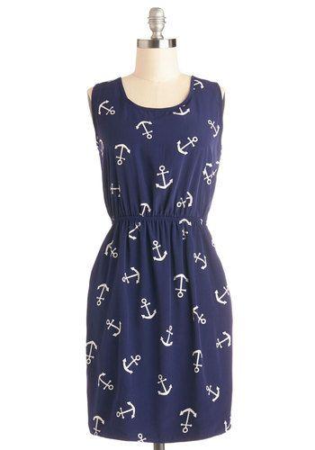 Hooked on Haute Dress - Blue, White, Novelty Print, Pockets, Casual, Nautical, A-line, Sleeveless, Good, Scoop, Woven, Chiffon, Mid-length