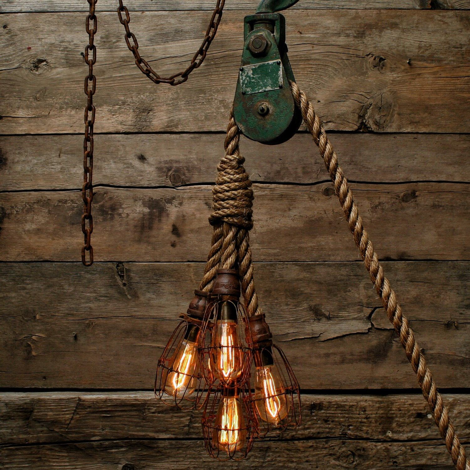 The hydra chandelier industrial manila rope pendant for Log cabin chandelier