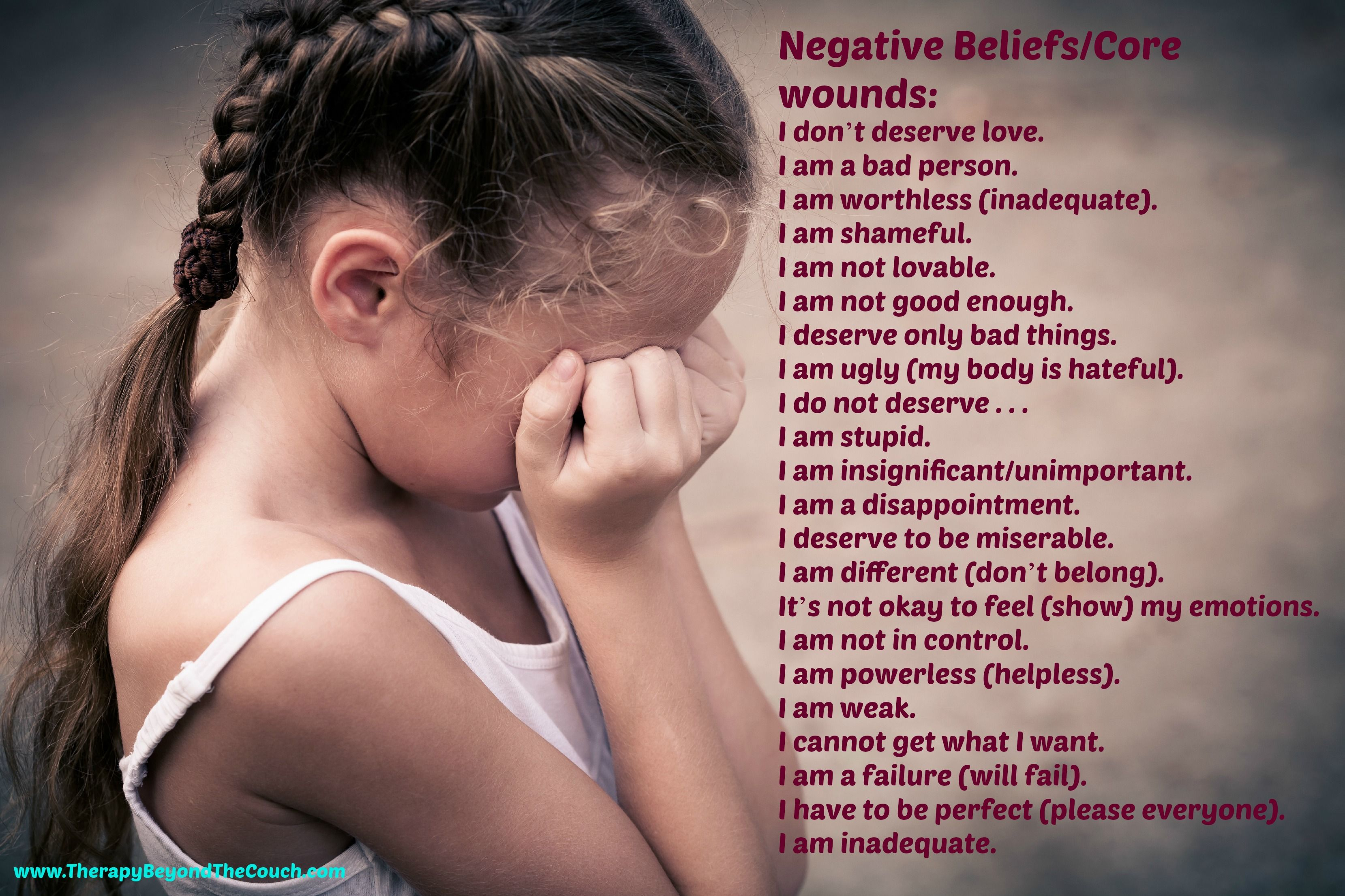 A List Of Our Negative Beliefs Core Wounds From Therapybeyondthecouch