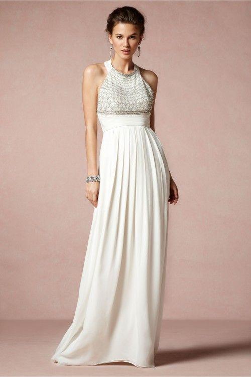 vestido de novia 2014 en color blanco con cuello cerrado, hombros