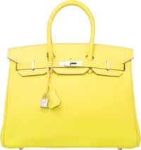 Hermes Limited Edition Candy Collection 35cm Lime Epsom Leather & Gris Perle Birkin Bag with Palladium Hardware...
