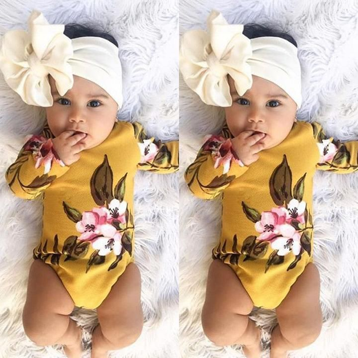 US Stock Infant Baby Girl Flower Print Romper Bodysuit Jumpsuit Headband Clothes