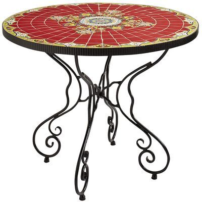 rania 36 red round dining table mosaics drawers and patios