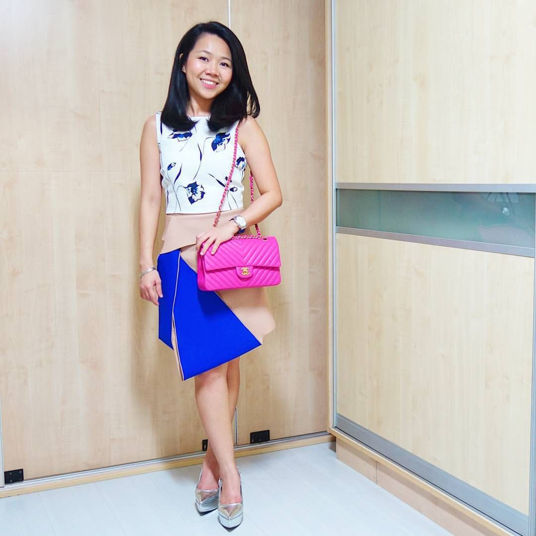 chanel chevron pink flap bag, pink crop top, colorful lace