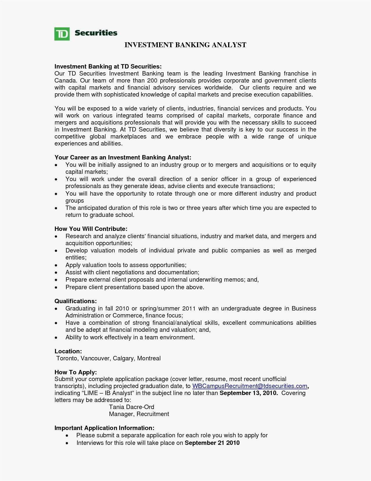 27 Cover Letter Investment Banking Investment Banking