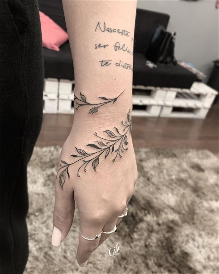 50 Meaningful Wrist Bracelet Floral Tattoo Designs For You Page 7 Of 50 Chic Hostess Wrap Around Wrist Tattoos Cuff Tattoo Wrap Around Tattoo