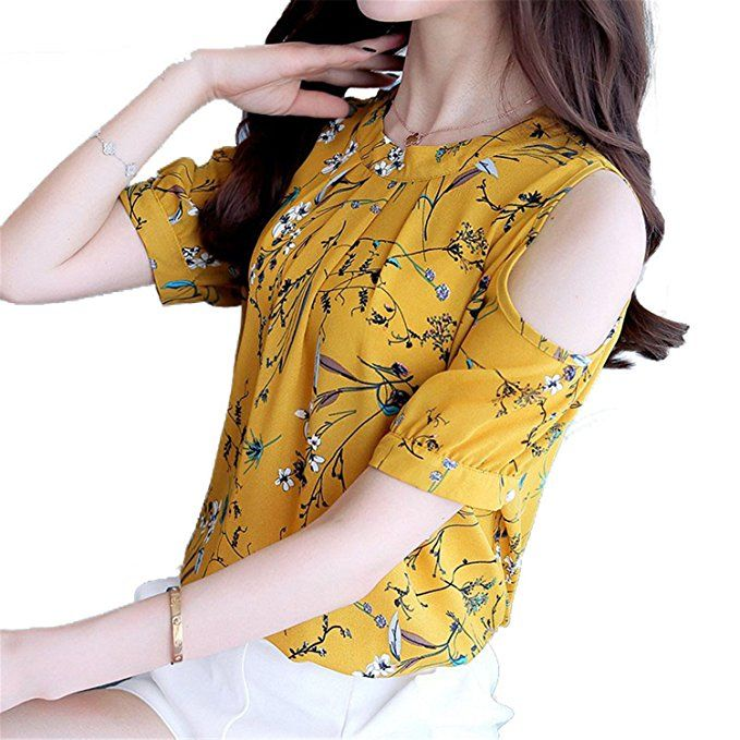 805dd673584 OUXIANGJU Womens New Arrival Chiffon Floral Shirt Open Shoulder Blouses  Plus Size Female Tops at Amazon