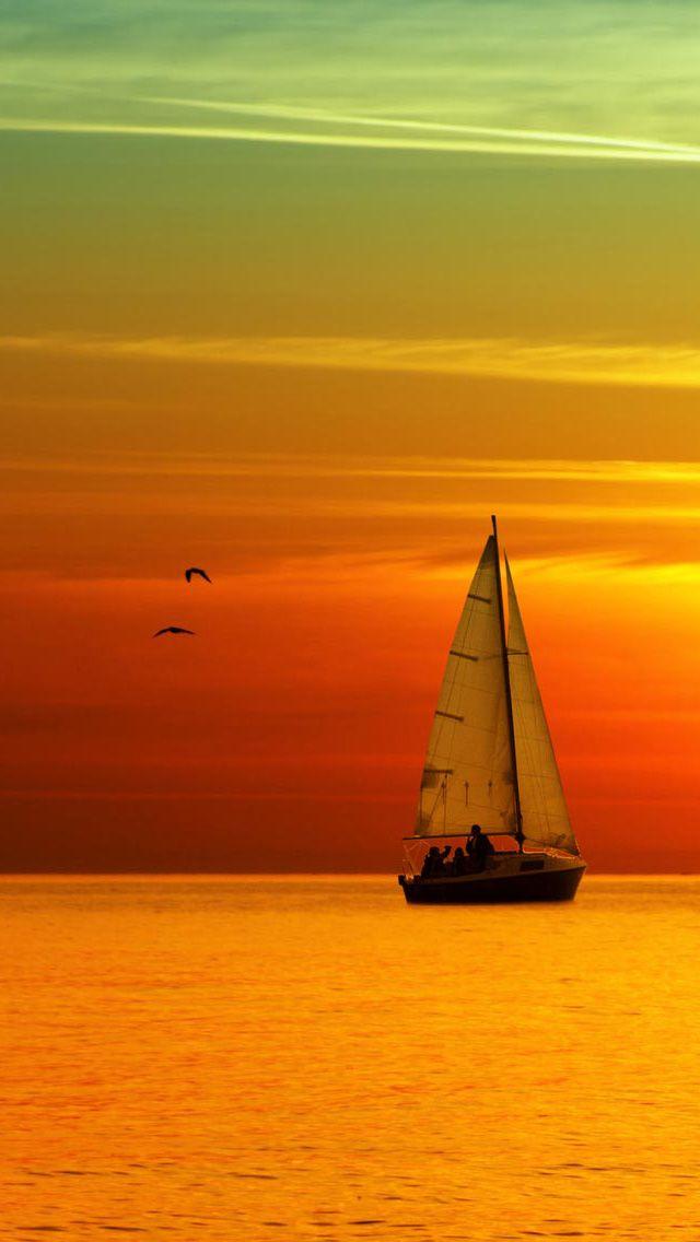 Glowing Ocean Beach Sunset Sailboat IPhone Wallpaper Lock Screen Cool Sunsets