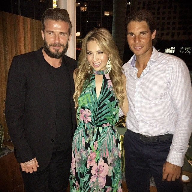 Rafael Nadal Meets David Beckham And Thalia In Miami For Tommy Hilfiger S Birthday Photo Thalia Instagram Rafael Nadal David Beckham Tennis Stars