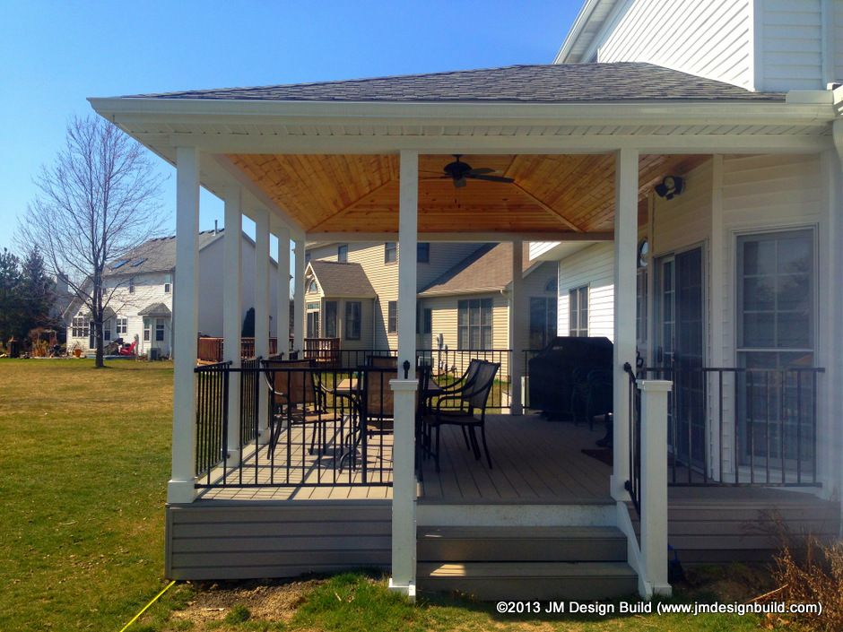 Covered deck olmsted falls oh composite deck flooring for Covered porch flooring options
