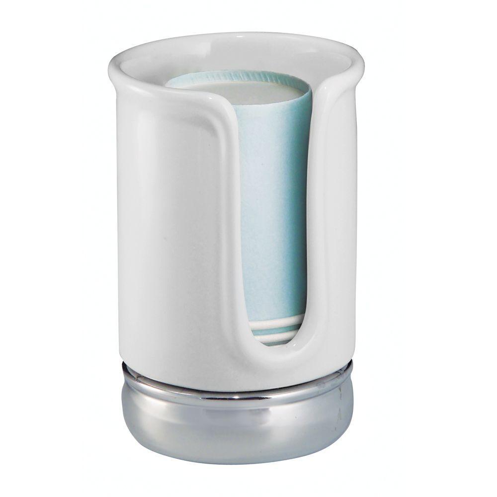 Interdesign York Disposable Cup Dispenser In White Chrome White