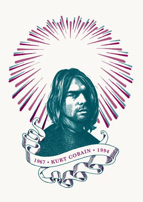 "RS172 - ""Kurt Cobain"" Icon card by Ben Lamb Illustration & Design"