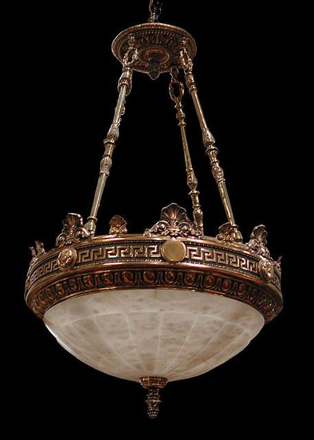 Cast in bronze with veined alabaster dome, this Neo-Classical Victorian  style light hangs - Cast In Bronze With Veined Alabaster Dome, This Neo-Classical
