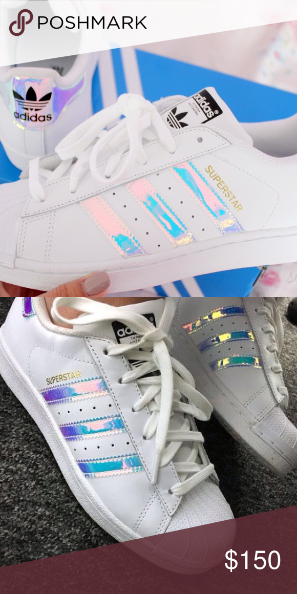 762c3f3607d5 Adidas Superstar Limited Holographic Iridescent Brand New in box with tags. Adidas  Superstar holographic iridescent shoes limited stock in Size 6 kids fits.