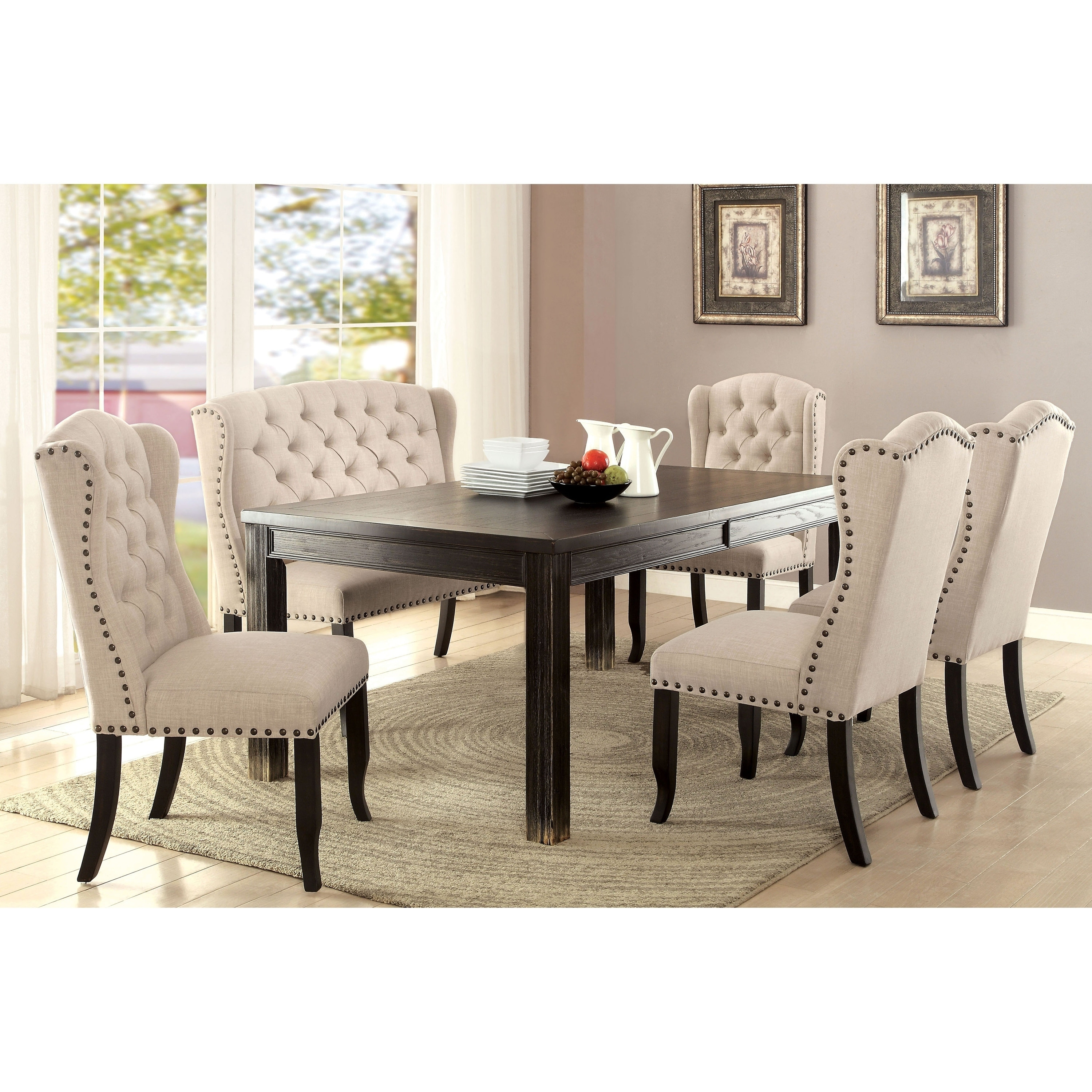 Furniture Of America Foster Rustic Beige Linen 6 Piece Dining Table Set With Bench Black Black Dining Room Dining Room Sets Dining Table Black