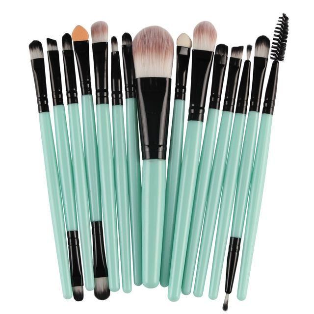 15-teilige Make-up-Pinsel – Hellgrün B.