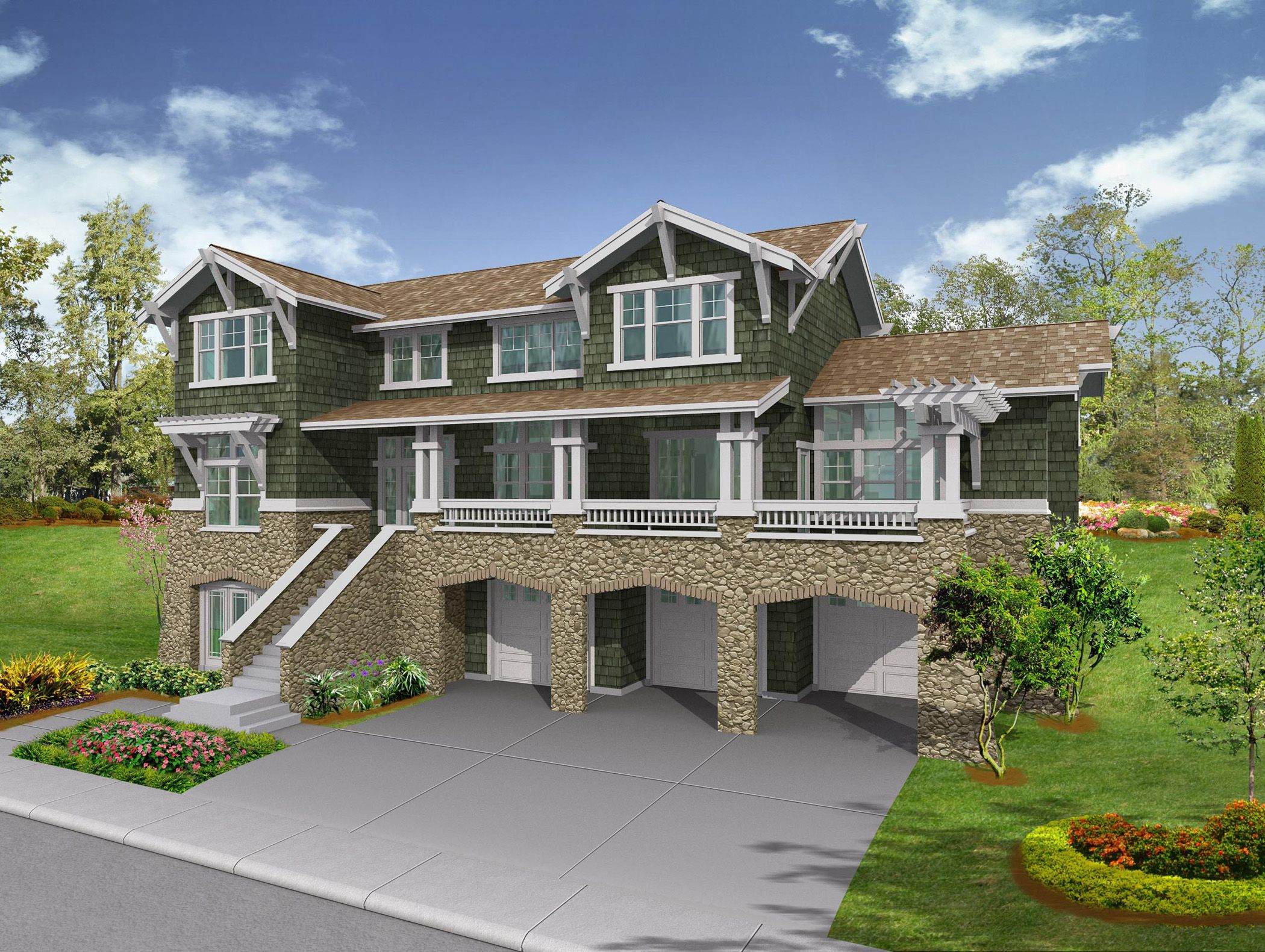 Plan 23164jd Covered Porch Perfect For View Lots Craftsman Style House Plans Craftsman House Craftsman House Plans