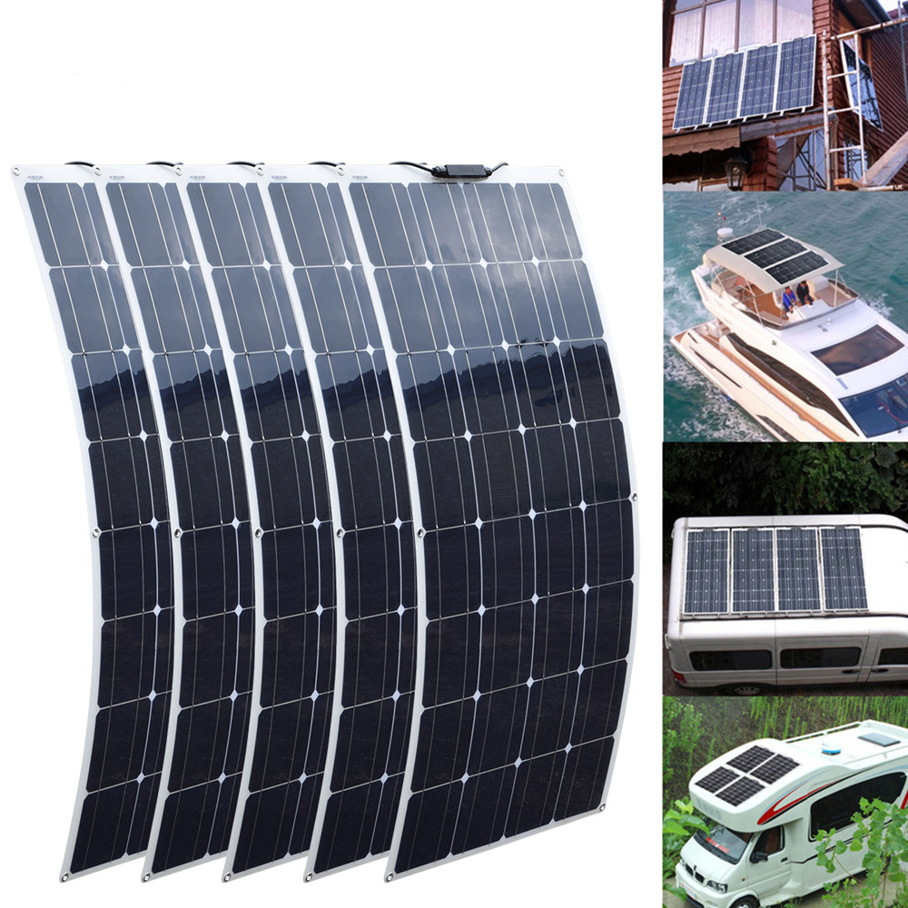 100w Solar Panel Monocrystalline Solar Cell Flexible 12v 18v 8 Pcs Flexible Solar Panels Solar Panels Monocrystalline Solar Panels