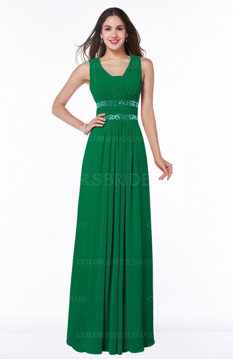 Green glamorous aline zip up chiffon sash plus size bridesmaid