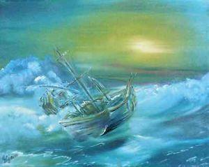 """Gemälde, vom Künstler direkt, """"Storm"""", Hajewski, Germany 2005, oil, kanvas, Größe: 30x24cm, signiert"""