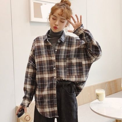 Long-sleeved shirt made of checkered cotton in Korean style, #aus #Cotton …