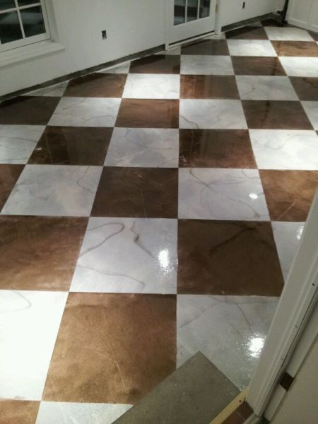 Checker Board Epoxy Painted Floor Kansas City