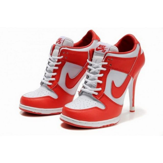 Women Nike Dunk SB Low Heels Red White