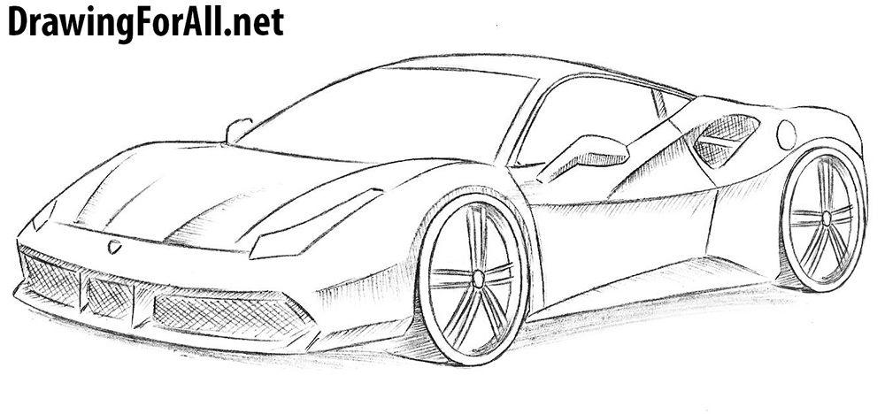 How To Draw A Ferrari Car Drawing Pencil Car Drawing Easy Car