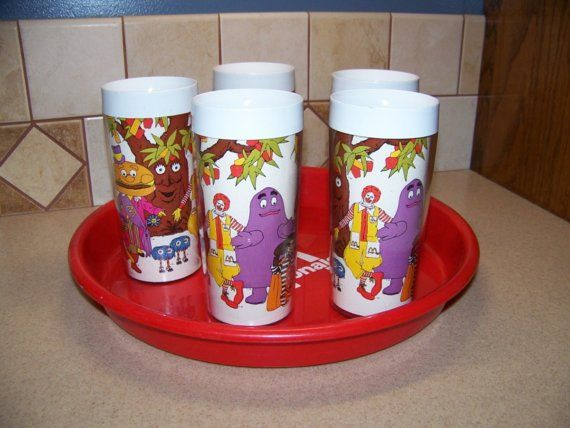 McDonalds Thermo Serv set of 5 drinking glasses by civilwarlady, $29.95