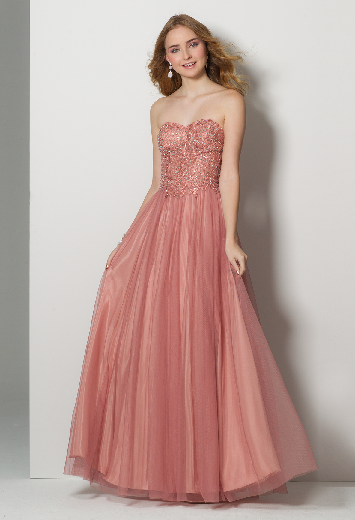 Embroidered illusion corset tulle ballgown dress