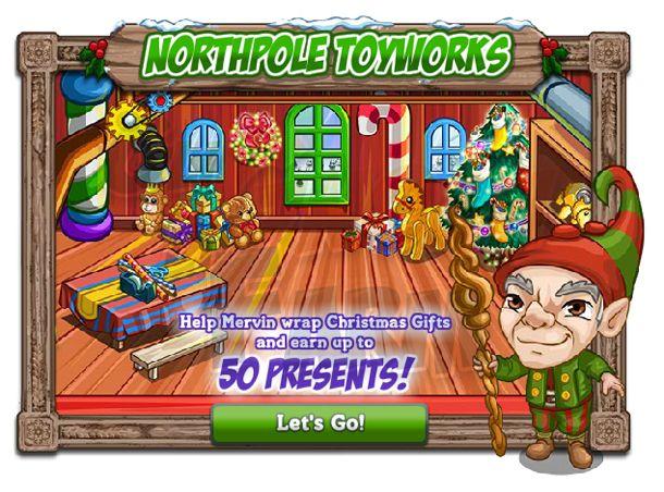 Northpole Toyworks  Ecco la funzione delledificio e della zona speciale al centro della Alpine Jingle ilNorthpole Toyworks!Dobbiamo aiutare Mervin a preparare tutti i pacchi prima del Natale!  Aiuta Mervin! Aiutami a incartarei Regali di Natale per riempire il sacco di BabboNatale e vincere fino a 50 Regali!  Serviranno Holiday Wrappers che si potranno chidedere ai vicini (ASK ogni 6 ore) o produrre (Craftshop) per incartare i pacchi e riempire il Wish Meter!    Quindi ogni 7Holiday Wrappers…
