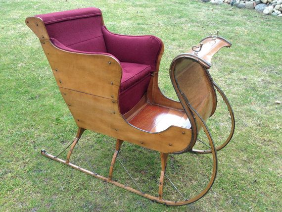 Antique Wooden Buggy Sleigh with Upholstered Seat by CottageBlu, $3000.00