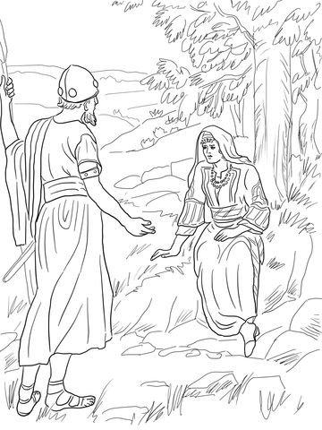 Barak and Deborah Sitting Under a Palm Tree Coloring page