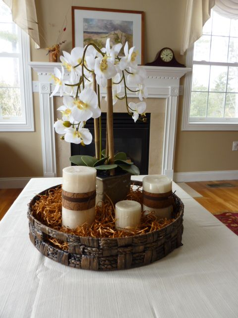 Staging Prop Made With A Round Wooden Tray Color Rafia Silk Orchid And 3 Different Sized Candles So Simple And Attractive Round Wooden Tray Decor
