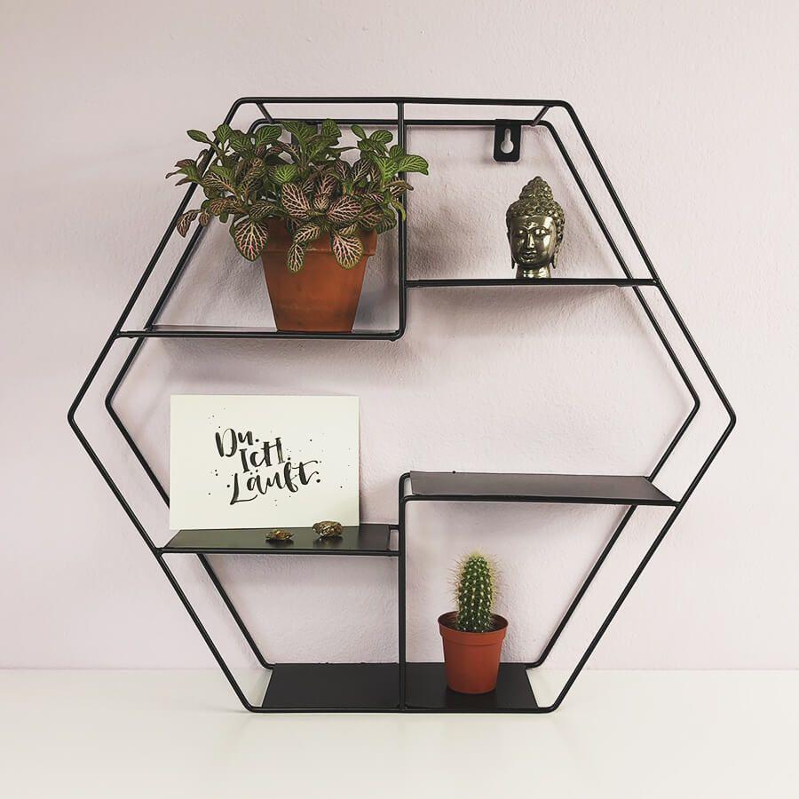 Wandregal Hexagon Metall In 2020 Wandregal Dekorative