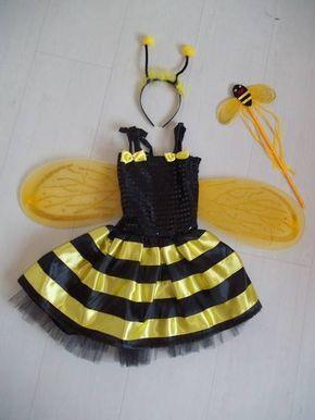 Fantasia de abelhinha, feita em cetim, corpo com lastex nas costas. Acompanha asinha, tiara e varinha. <br>produzida nos tamanhos 1, 2, 4, 6 e 8 anos