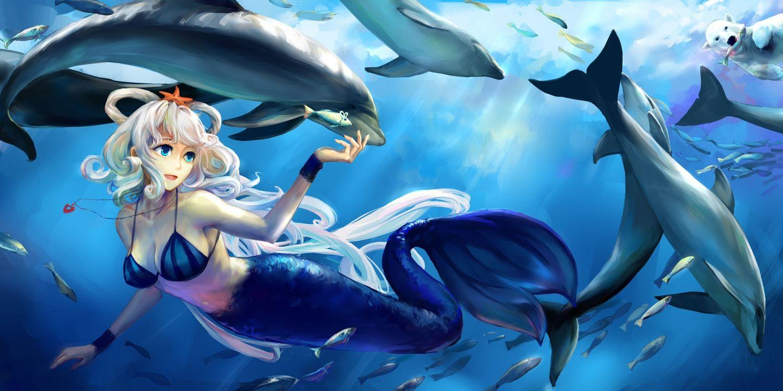 Animal Bikini Top Dolphin Fish Jiaoshouwen Luo Tianyi Mermaid Necklace Underwater Vocaloid Anime Mermaid Mermaid Wallpapers Anime