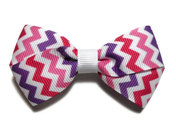 3 in Medium Pink and Purple Chevron Boutique Hair Bow