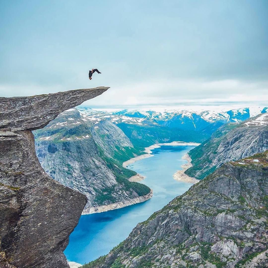 Doing a backflip at Trolltunga Norway. Photo by @sirrobwin. by mostextremepictures