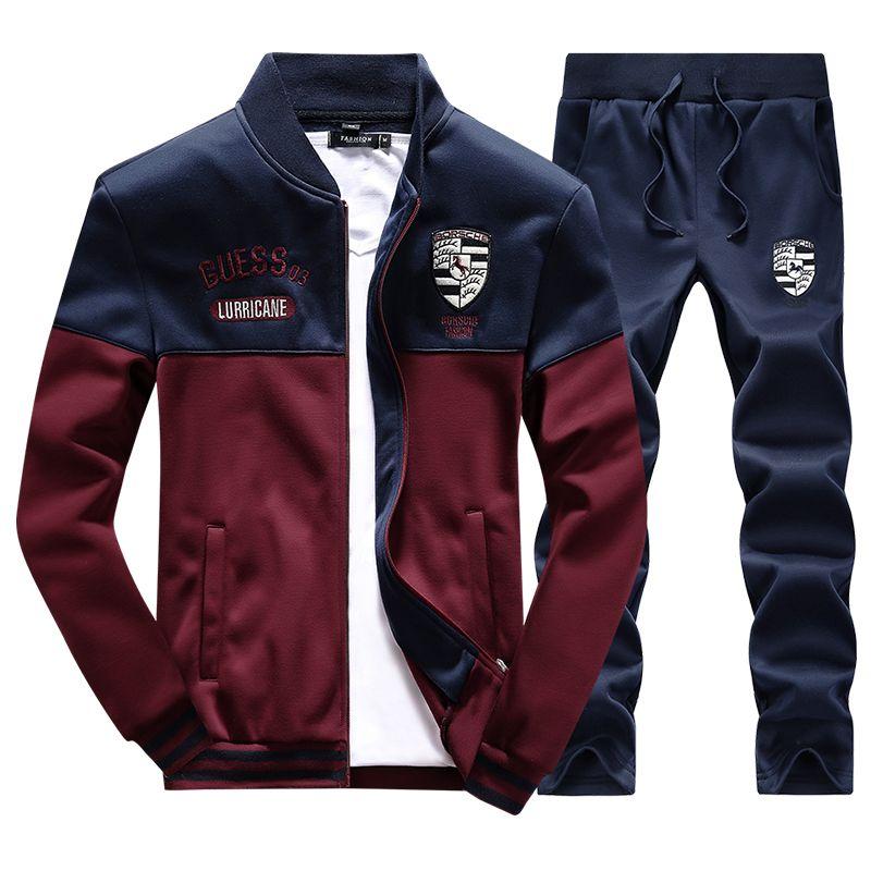 Men SportSwear Suit 4XL Letter Embroidery Tracksuit Sports Suit Hoodies  Stand Collar Sportswear Baseball Hoodie Zipper,PA068 e7dc16ba9a8