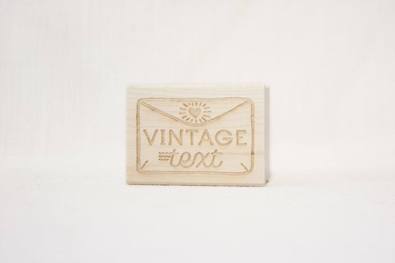 Wooden Vintage Text Stamp Etsy Vintage text, Wooden