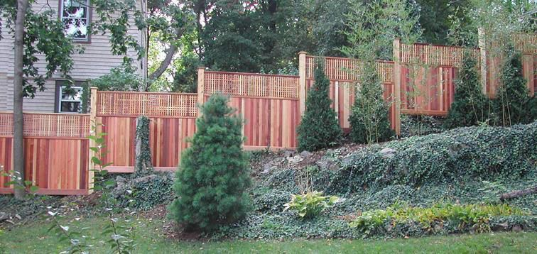 Fence On A Hill Home Landscaping Sloped Yard Outdoor