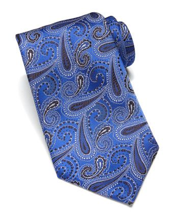 Woven Paisley Silk Tie, Blue  by Brioni at Bergdorf Goodman.