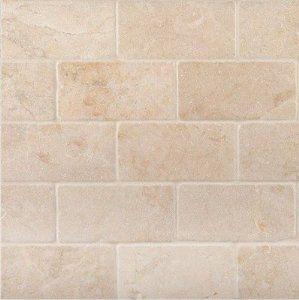 porcelain subway tile backsplash Crema Marfil 3x6 Subway Marble