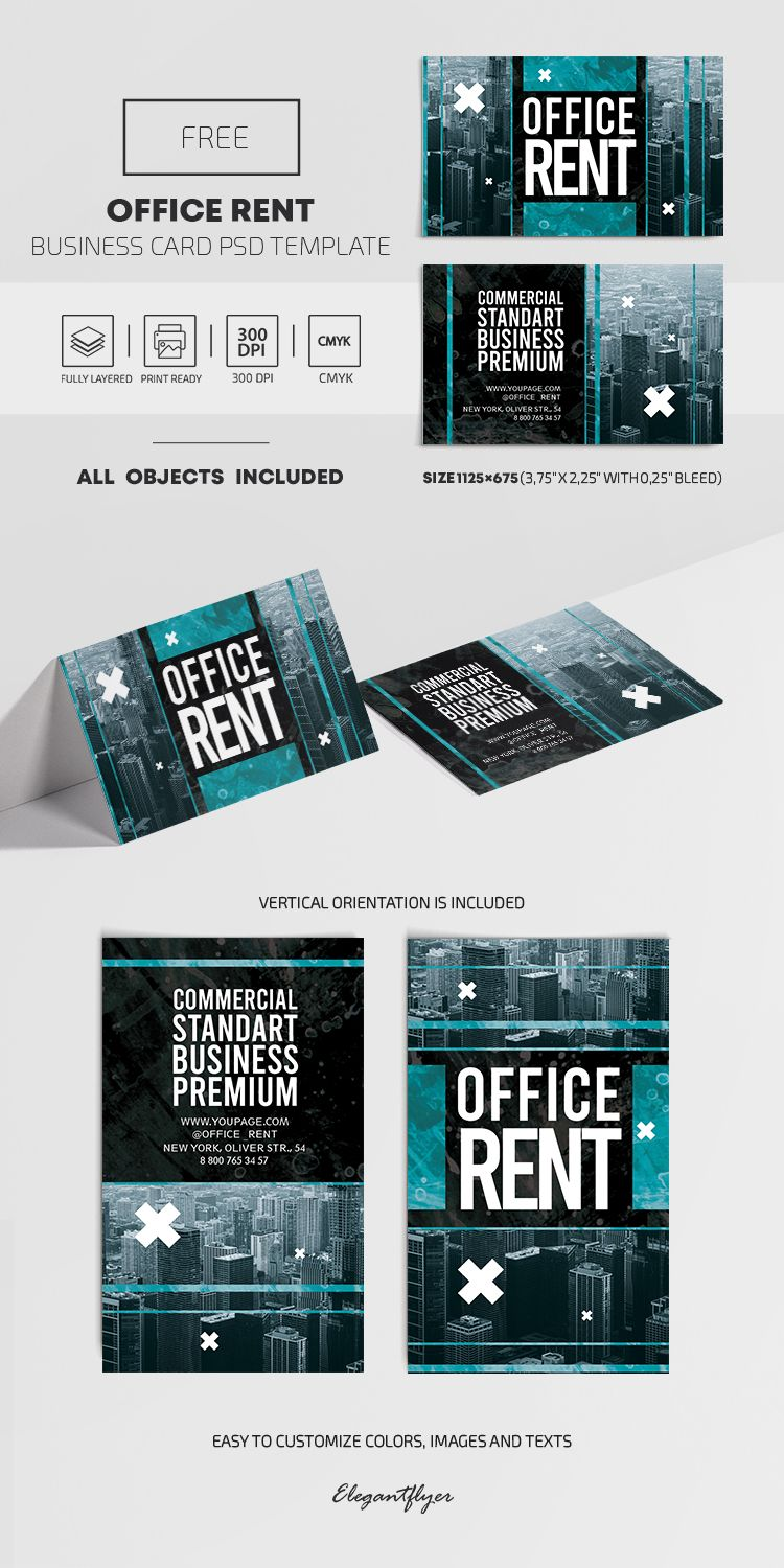 Office Rent Free Psd Business Card Template Business Card Psd Free Business Card Templates Business Card Template