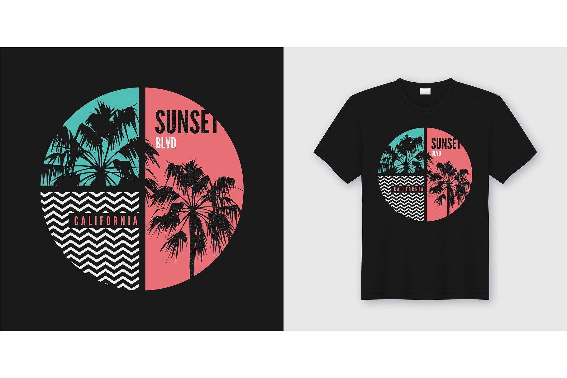 Sunset Blvd California Tshirt Design California Tshirt Design California Tshirt Graphic Tshirt Design