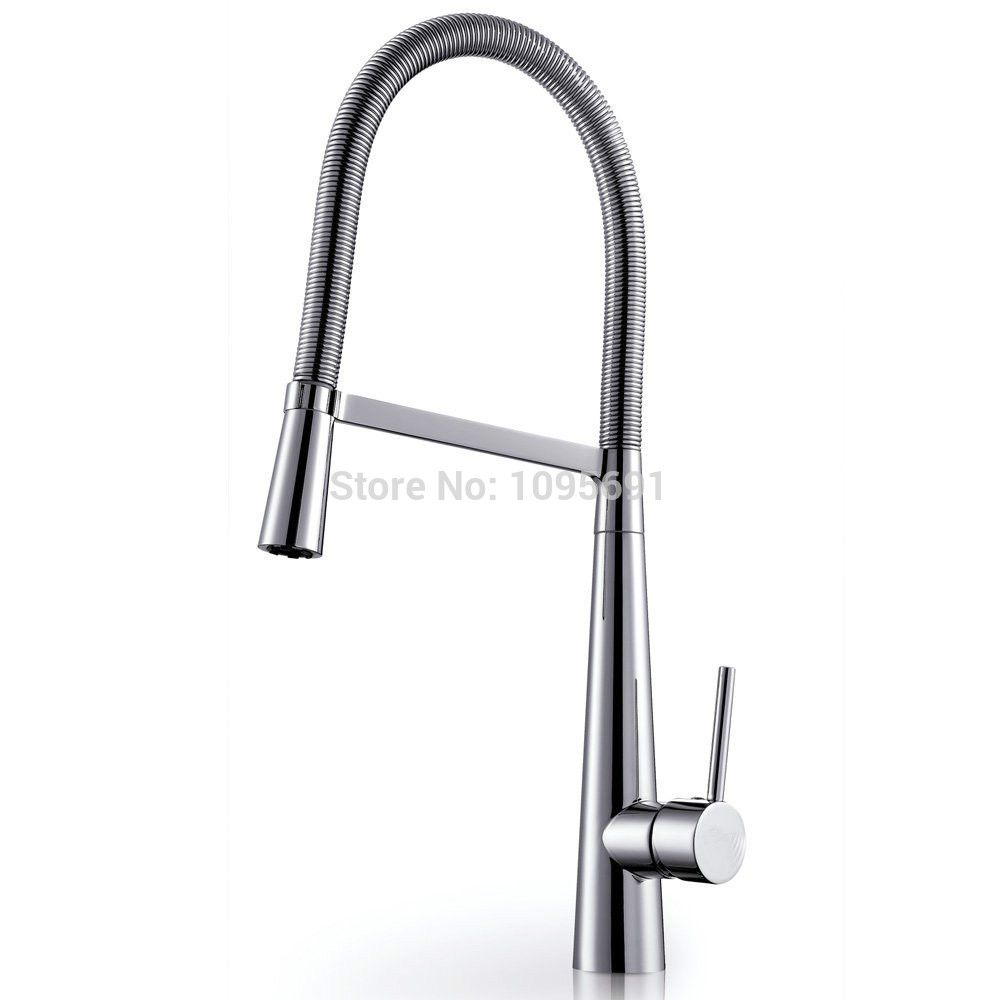 Brass Single Lever High Arc Pull-Down Kitchen Faucet with Hose ...