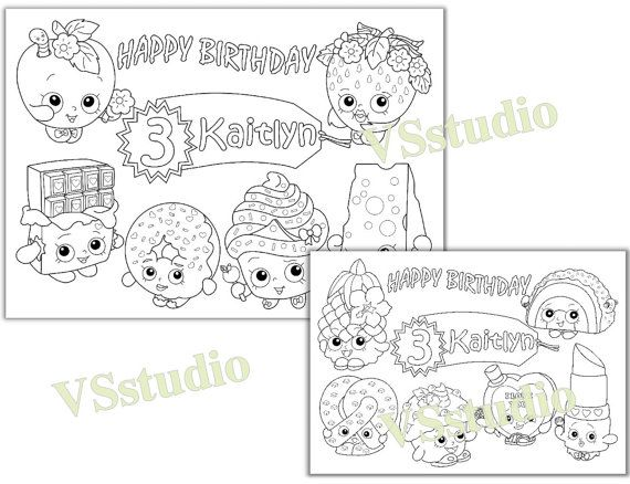 Personalized Shopkins Birthday Party Printable Favor Childrens Coloring Page Activity PDF File