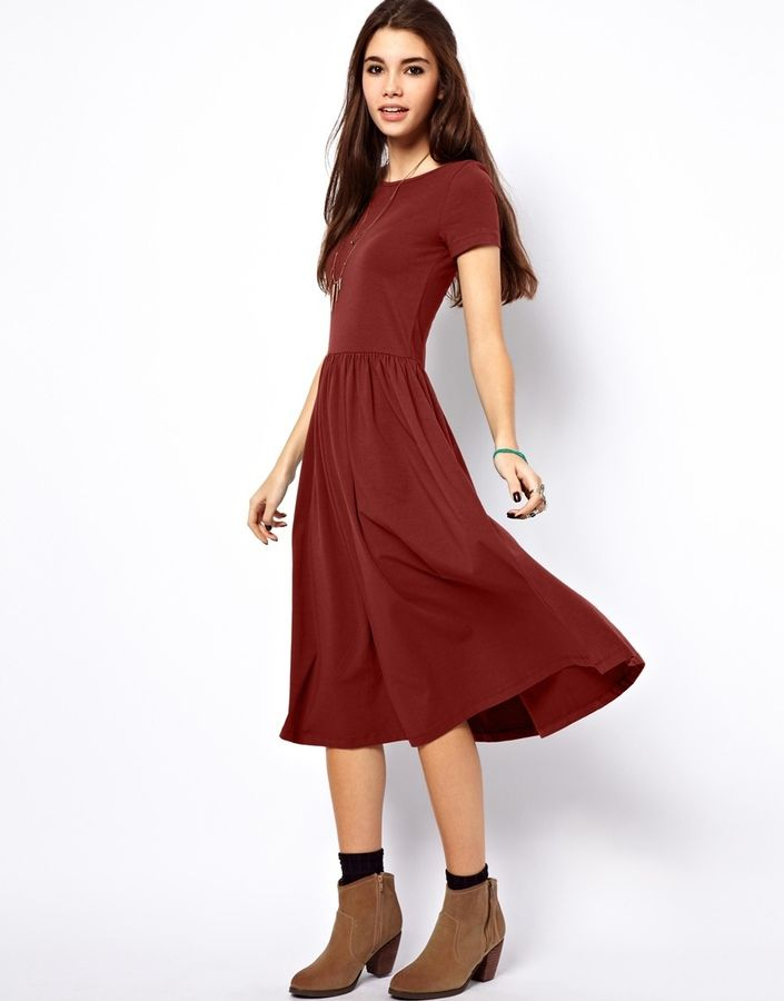 75cf51bbb7ff Asos Midi Dress With Short Sleeves - women s fashion   red clothing apparel  (Casual dress)